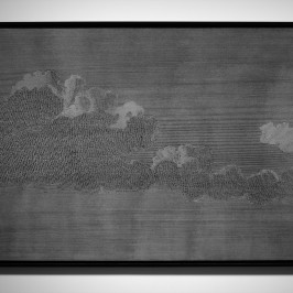 Altocumulus d'après View of Cavite in the Bay of Manilla de Gaspard Duché de Vancy, 1799, 2014, Encre à sérigraphie et sel sur médium teinté, 80 x 119 cm, Courtesy de l'artiste et galerie Jérôme Poggi, Paris
