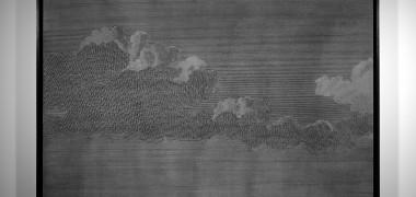 Altocumulus d'après View of Cavite in the Bay of Manilla de Gaspard Duché de Vancy, 1799, 2014, Encre à sérigraphie et sel sur médium teinté, 80 x 119 cm, Courtesy de l'artiste et galerie Jérôme Poggi, Paris