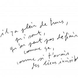 Les liens invisibles, 2013, Extrait transcription, Courtesy de l'artiste et gb agency, Paris