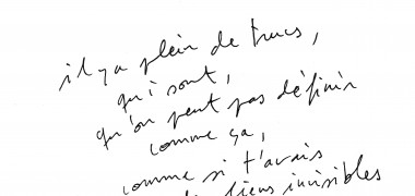 Les liens invisibles, 2013, Extrait transcription, Courtesy de l'artiste et gb agency, Paris