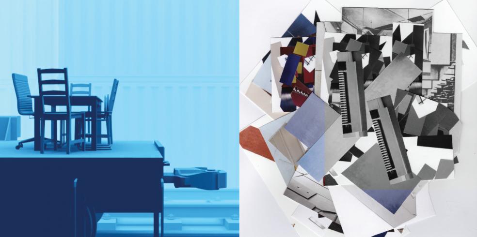 Olivier Jonvaux, Mein Blue, DVCPRO HD 720p, 9m11s, boucle, stéréo, 2015 / Ani Schulze, From Aerial Vortices, collage, 24 cm x 24 cm, 2015.