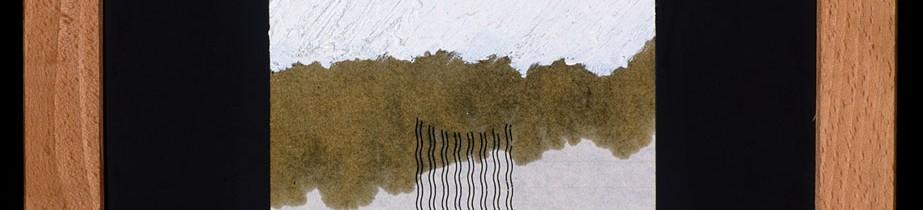 Eleftherios Amilitos Détail de 3 projets de sculpture à ne jamais réaliser ou à ne pas faire, 1993 Letraset, huile et papier sur ardoise, 3 x (40 x 30 cm) Photo : Klaus Stöber