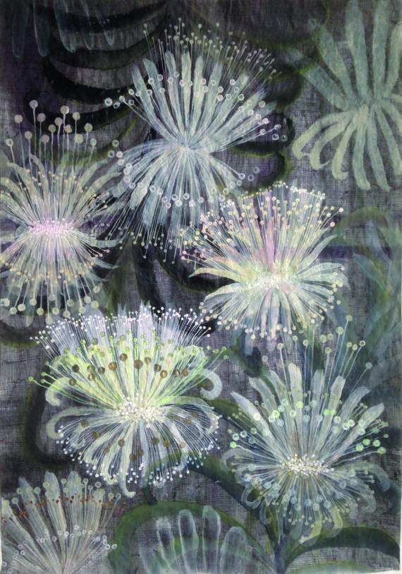 Camille Fischer, Sans Titre, techniques mixtes sur papier, 58×41 cm, 2019
