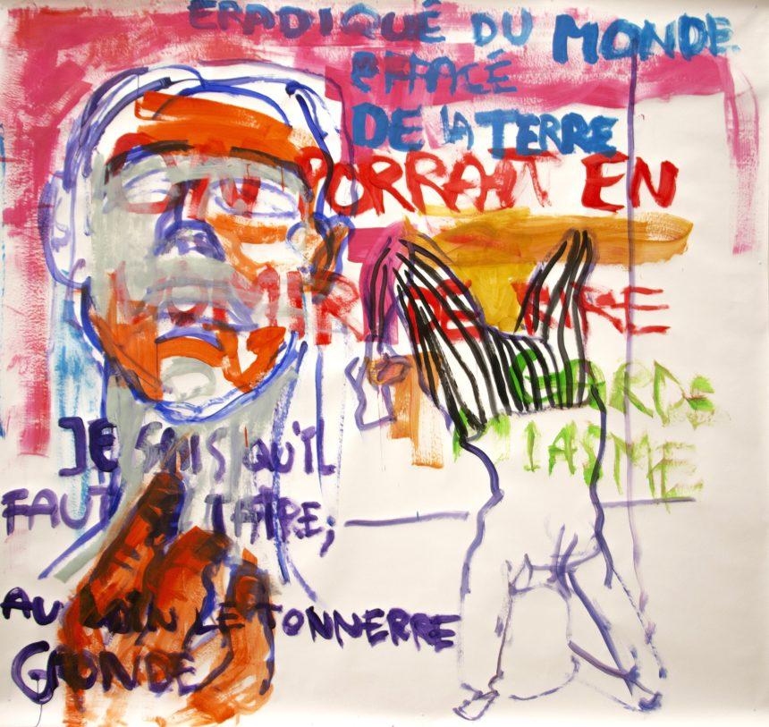 Jérémy Gigandet / Je sais qu'il faut se taire, 2018. Acrylique sur papier, 273 x 328 cm. ©Jérémy Gigandet