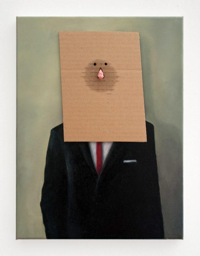 Camillo Paravicini / Untitled Painting with Nose, 2013. Peinture à l'huile et carton sur toile, 40x30cm ©Camillo Paravicini