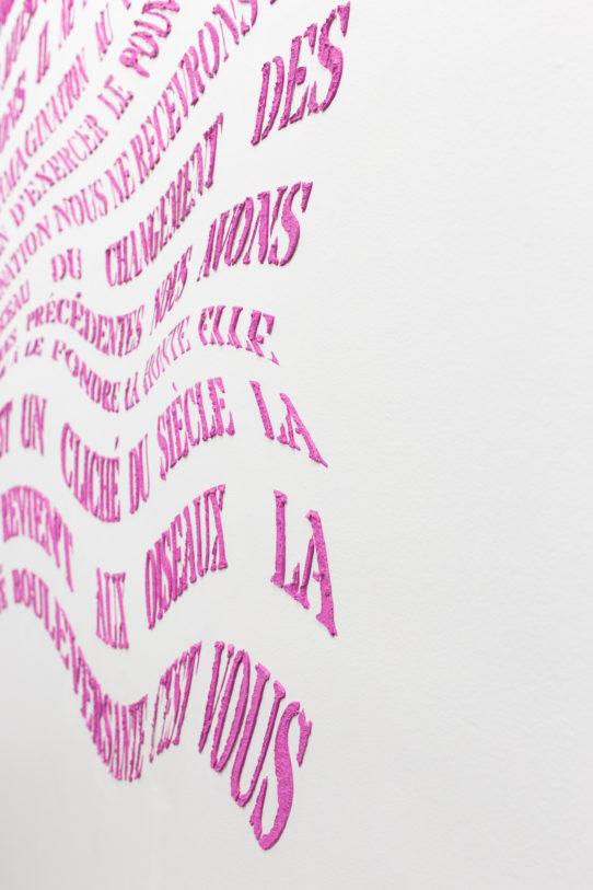 On accomplit des actes […], 2018. Créé à partir de citations de textes de Françoise Sullivan (1948), Mainmise (1973 et 1974), Fermaille (2013) et Daria Colona (2017).  Crédit photo : alignements