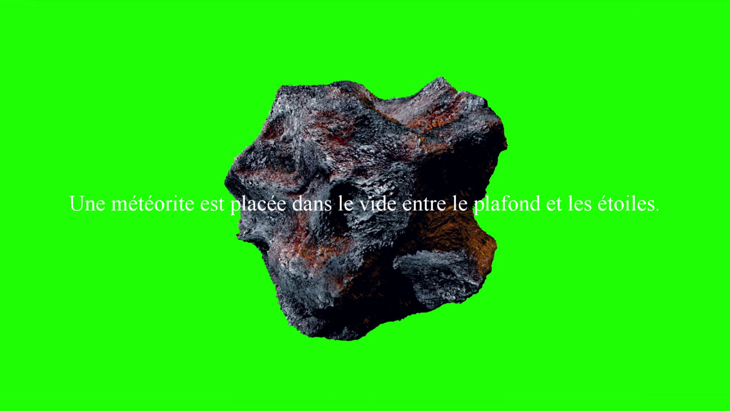 Tom Ireland, in the void between the ceiling and the stars, 2017, météorite (Afrique du Nord-Ouest 19 g), certificat signé par l'artiste, dimensions variables, Frac Champagne-Ardenne