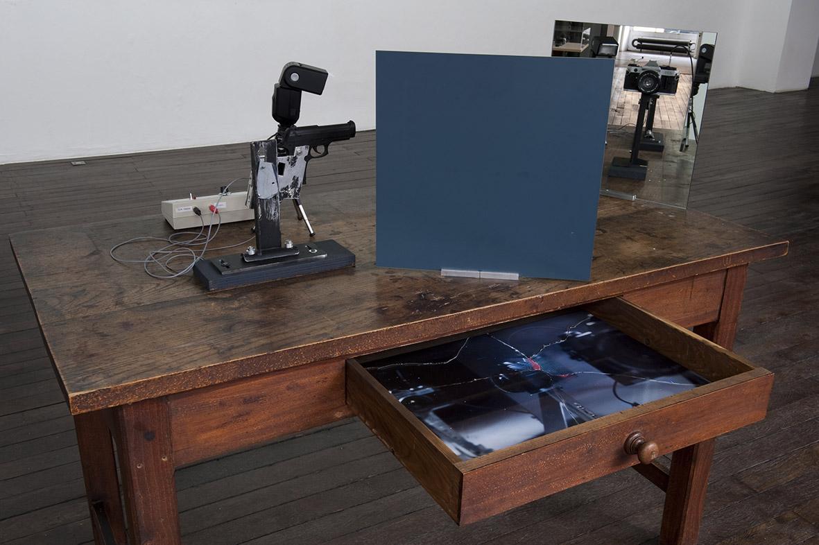 Dispositif de démonstration technique utilisé pour la réalisation de la série Point Blank – Photo : Klaus Stöber