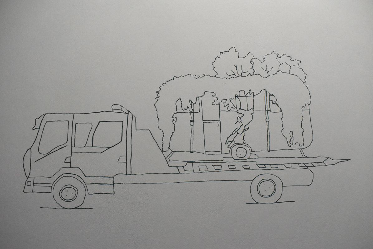 Nicolas Pinier, La forêt habitée, dessin au trait sur mur, 2020