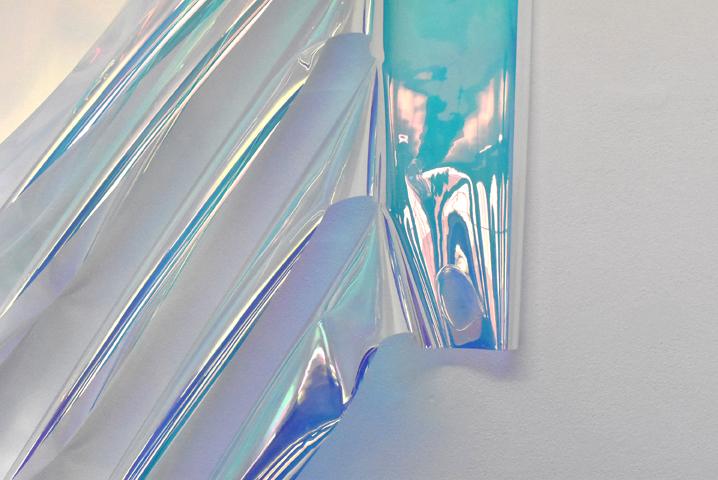 Capucine Vandebrouck, Hi Robert 2, 2020, PVC radiant, 210x180x17 cm, détails, vue d'exposition au CEAAC, 2020