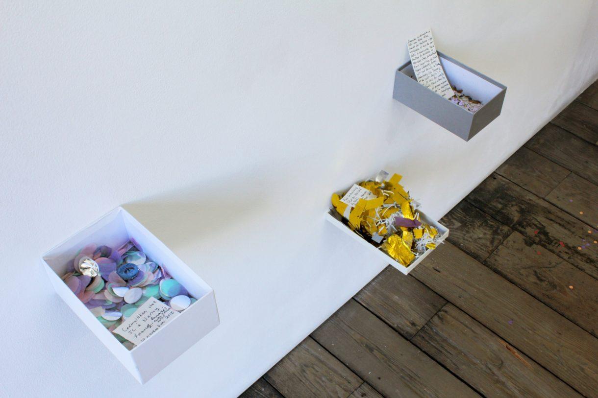 Magali Baribeau-Marchand, Les confettis, 2019, vue d'exposition, Espace international du CEAAC