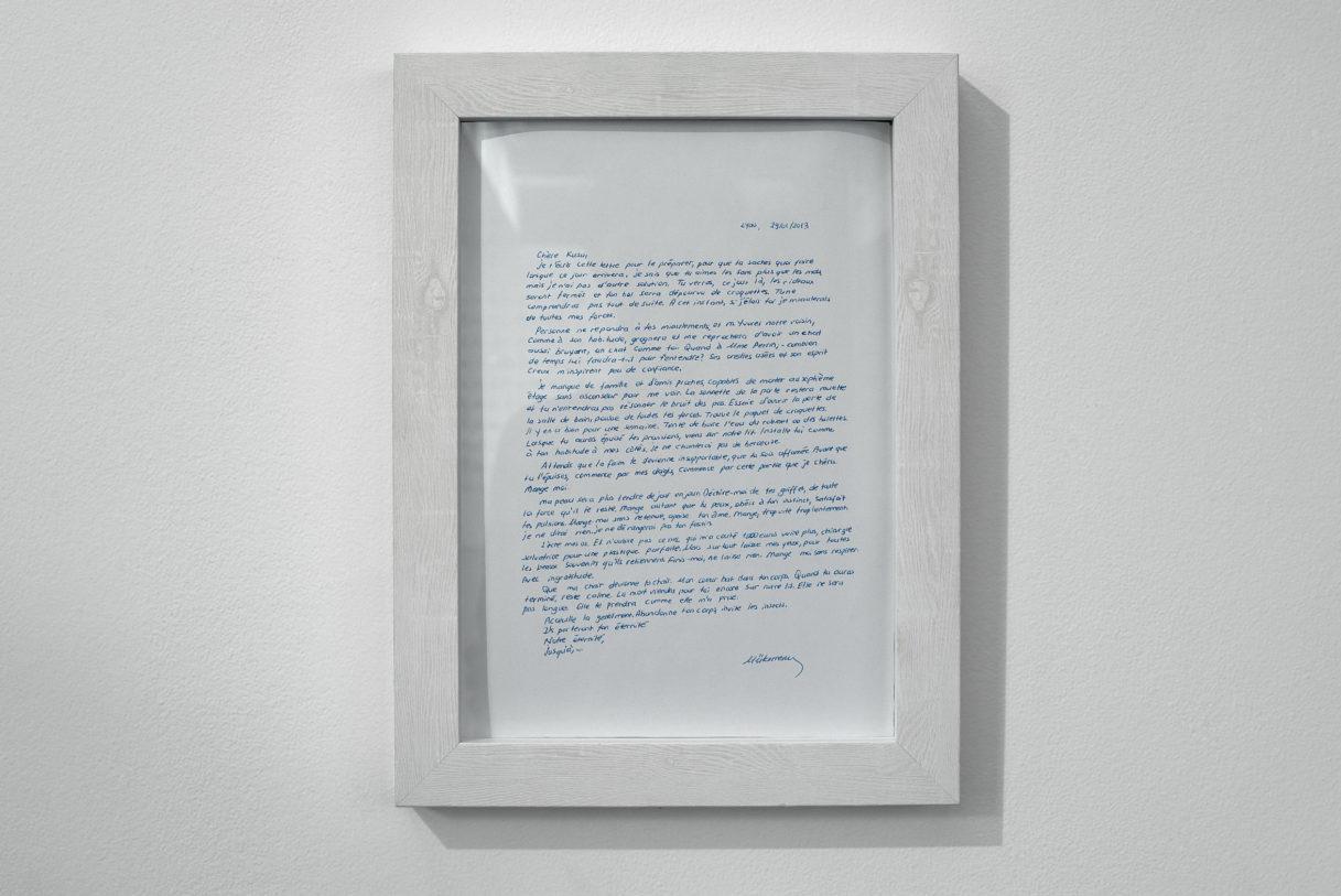 """Mükerrem Tuncay, """"Lettre à Kuzu"""", vue de l'exposition """"Nouer le reste"""", CEAAC, 2021, ©R. Görgen"""