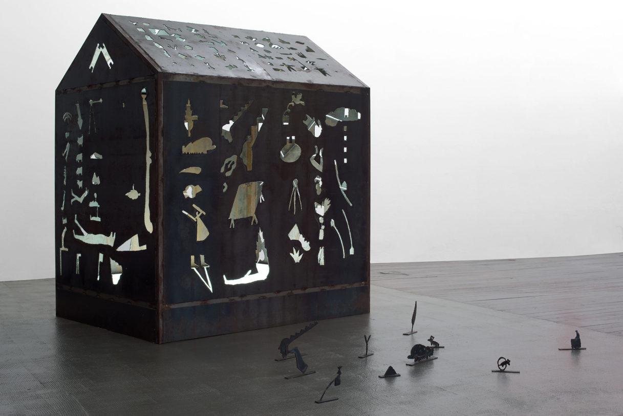 """Georges Lappas, """"Mappemonde"""", vue de l'exposition """"Nouer le reste"""", CEAAC, 2021, ©R. Görgen"""